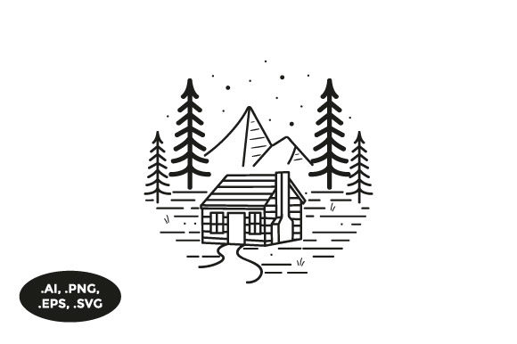 Download Free Mountain Cabin Illustration Grafico Por Sasongkoanis Creative for Cricut Explore, Silhouette and other cutting machines.