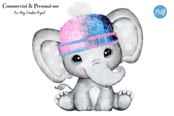 Print on Demand: Unisex Pink Blue Elephant Clip Art, Pink Graphic Illustrations By adlydigital