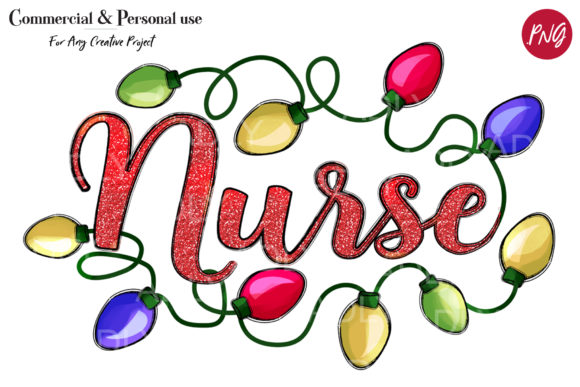 Print on Demand: Nurse Sublimation Christmas Lights Graphic Illustrations By adlydigital