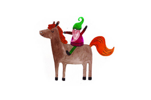 Download Free Gnome Riding A Horse Watercolor Svg Cut File By Creative for Cricut Explore, Silhouette and other cutting machines.