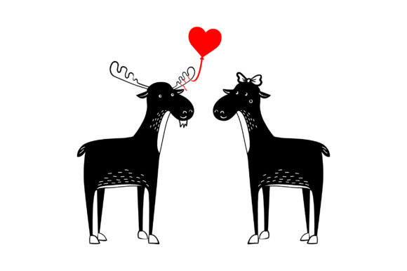 Lover Mooses Valentine's Day Craft Cut File By Creative Fabrica Crafts