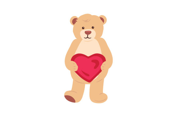 Download Free Teddy Bear Holding Heart Svg Cut File By Creative Fabrica Crafts for Cricut Explore, Silhouette and other cutting machines.