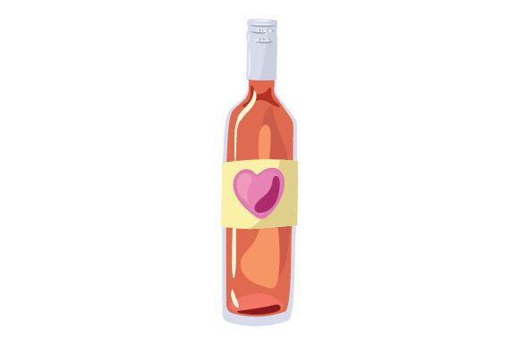 Bottle of Wine with Heart on Label Valentine's Day Craft Cut File By Creative Fabrica Crafts