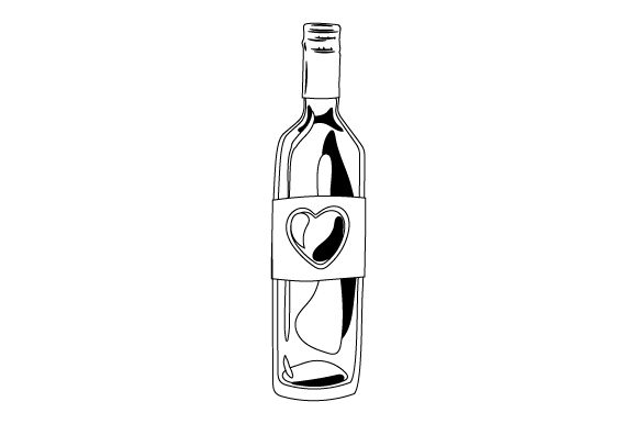 Download Free Bottle Of Wine With Heart On Label Svg Cut File By Creative SVG Cut Files
