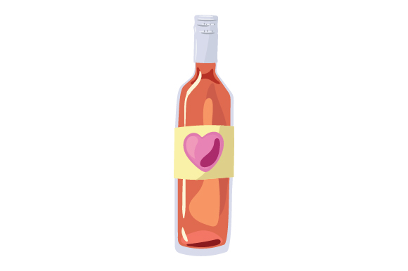 Download Free Bottle Of Wine With Heart On Label Svg Cut File By Creative for Cricut Explore, Silhouette and other cutting machines.