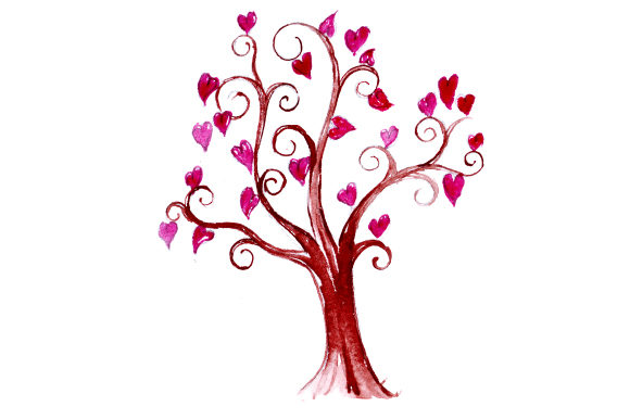 Tree with Heart Foliage in Watercolor Style Valentine's Day Craft Cut File By Creative Fabrica Crafts