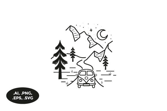 Download Free Mountain Camper Van Illustration Graphic By Sasongkoanis for Cricut Explore, Silhouette and other cutting machines.