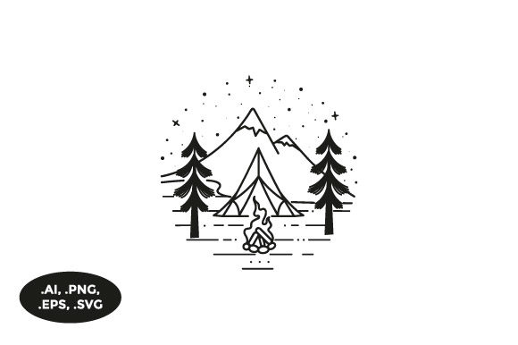 Download Free Mountain Camp Illustration Graphic By Sasongkoanis Creative for Cricut Explore, Silhouette and other cutting machines.