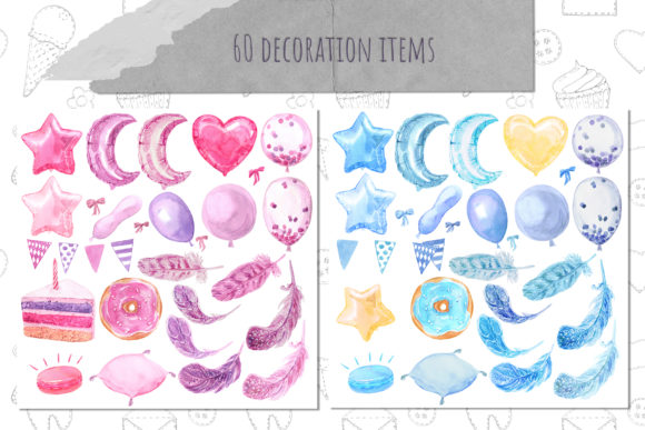 Paper Decor Watercolor Collection Graphic Illustrations By Cat In Colour - Image 5