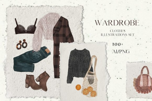 Print on Demand: Wardrobe - Fashion Clothes Set Graphic Illustrations By kaleriiatv