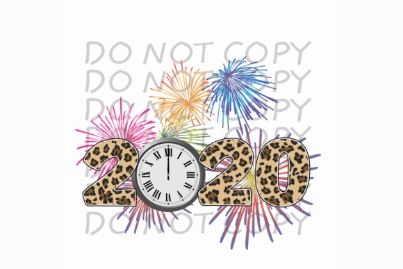 2020 Leopard Numbers Fireworks New Years Graphic Print Templates By rebecca19