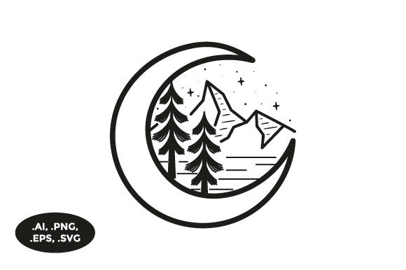 Download Free Mountain Moon Illustration Graphic By Sasongkoanis Creative for Cricut Explore, Silhouette and other cutting machines.