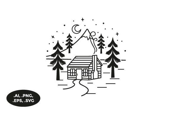 Download Free Mountain Wood Cabin Illustration Grafico Por Sasongkoanis for Cricut Explore, Silhouette and other cutting machines.