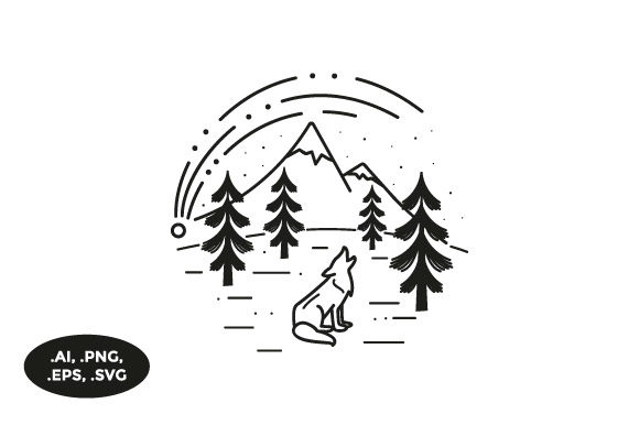 Download Free Mountain Wolf Illustration Graphic By Sasongkoanis Creative for Cricut Explore, Silhouette and other cutting machines.