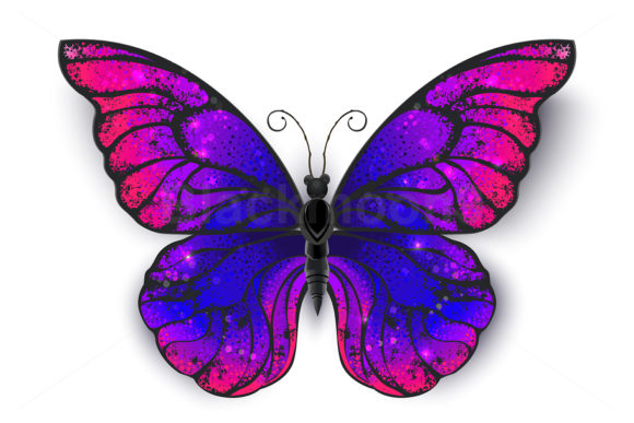 Tricolored Butterfly Graphic Illustrations By Blackmoon9