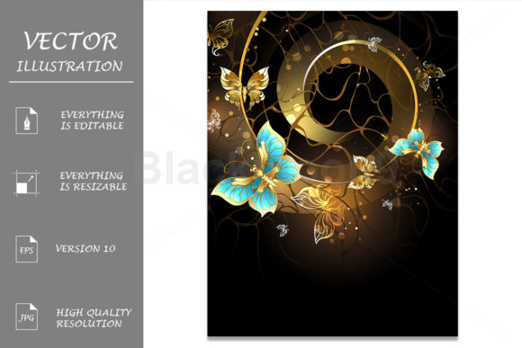 Spiral with Gold Butterflies Graphic Illustrations By Blackmoon9