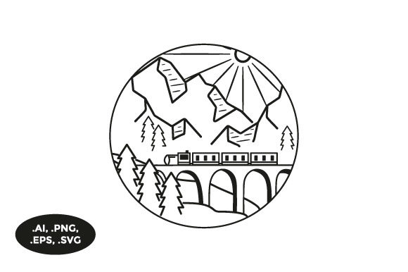 Download Free Mountain Train Illustration Graphic By Sasongkoanis Creative for Cricut Explore, Silhouette and other cutting machines.