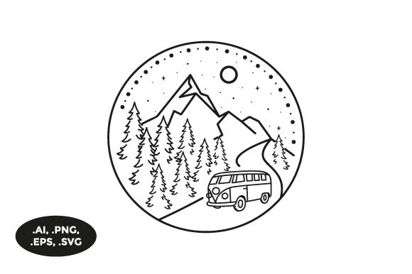 Download Free Mountain Van Illustration Graphic By Sasongkoanis Creative Fabrica for Cricut Explore, Silhouette and other cutting machines.