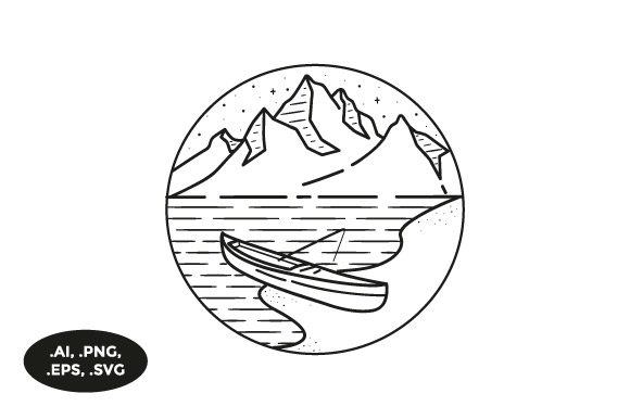 Print on Demand: Mountain Fishing Boat Illustration Graphic Illustrations By sasongkoanis