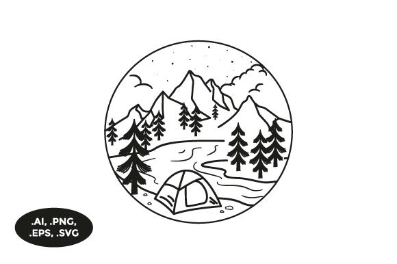 Download Free Mountain Riverside Camping Illustration Graphic By Sasongkoanis for Cricut Explore, Silhouette and other cutting machines.