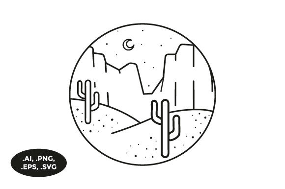 Download Free Mountain Cactus Illustration Graphic By Sasongkoanis Creative for Cricut Explore, Silhouette and other cutting machines.