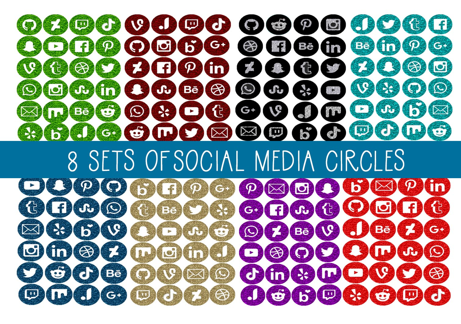 Download Free 8 Sets Circle Social Media Icons Set 1 Graphic By Capeairforce for Cricut Explore, Silhouette and other cutting machines.