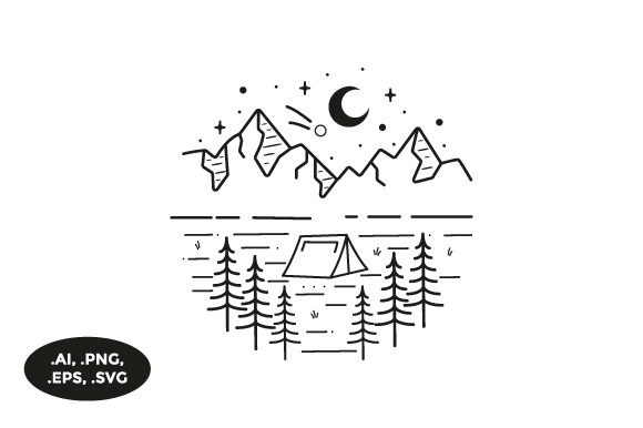 Download Free Mountain Camping Illustration Graphic By Sasongkoanis Creative for Cricut Explore, Silhouette and other cutting machines.