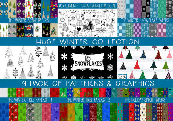 Print on Demand: 9 Pack Winter Mega-Collection Graphic Illustrations By capeairforce