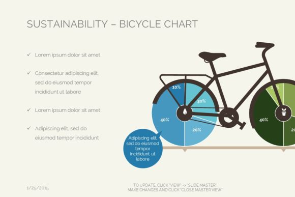 Sustainability Bicycle Chart Keynote Graphic Presentation Templates By renure