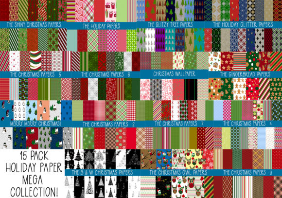 Print on Demand: 15 Pk Mega Collection of Christmas Paper Graphic Patterns By capeairforce