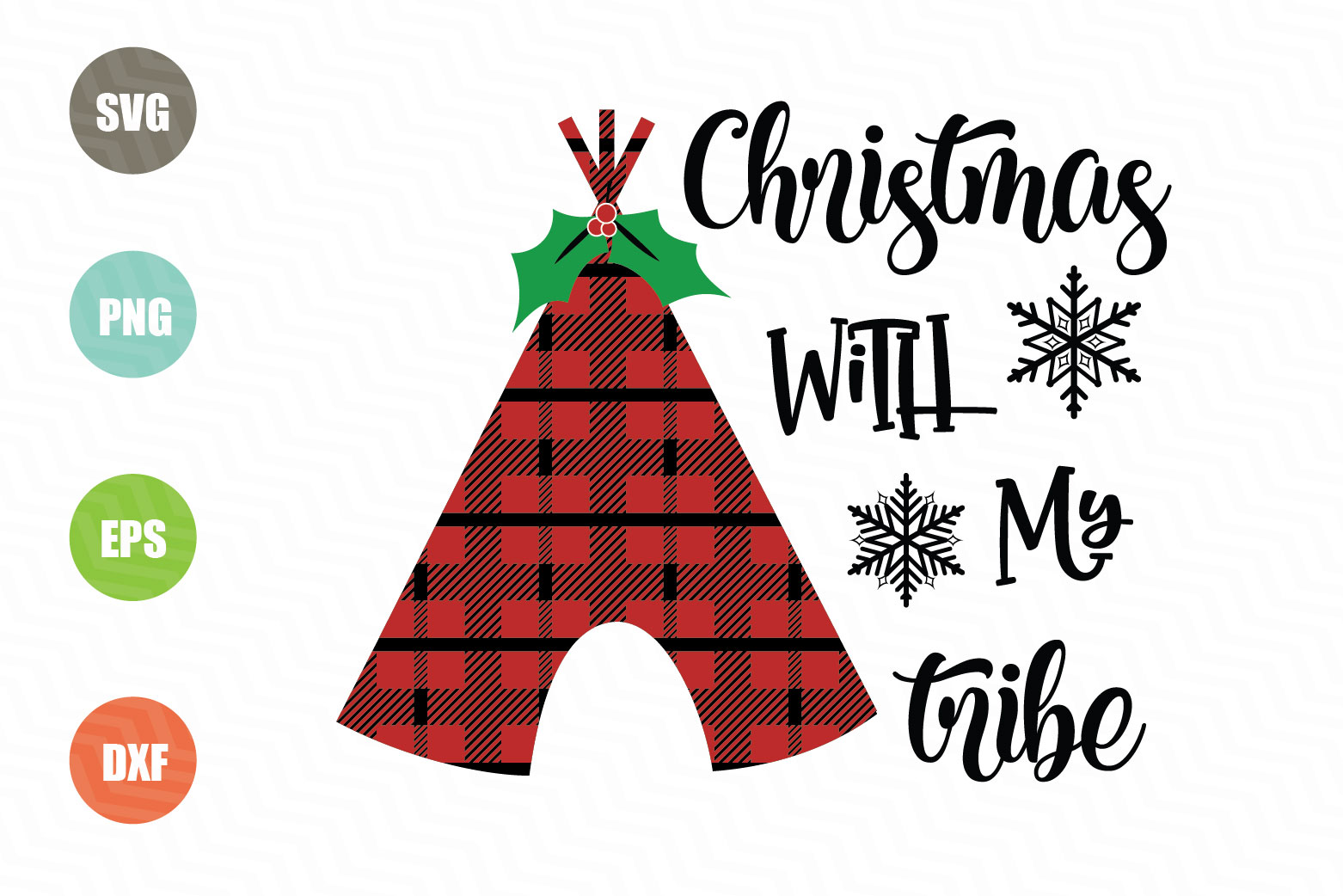 Download Free Christmas With My Tribe Graphic By Logotrain034 Creative Fabrica for Cricut Explore, Silhouette and other cutting machines.