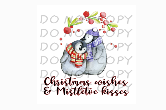 Christmas Wishes & Mistletoe Kisses Graphic Print Templates By rebecca19