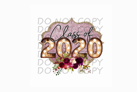Class of 2020 with Glitter Graphic Print Templates By rebecca19