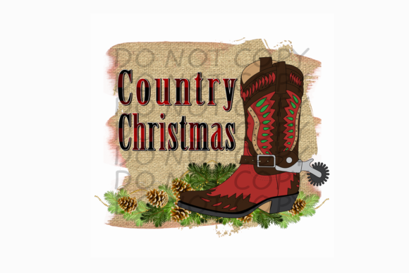 Country Christmas Cowboy Boot W/ Burlap Graphic Print Templates By rebecca19