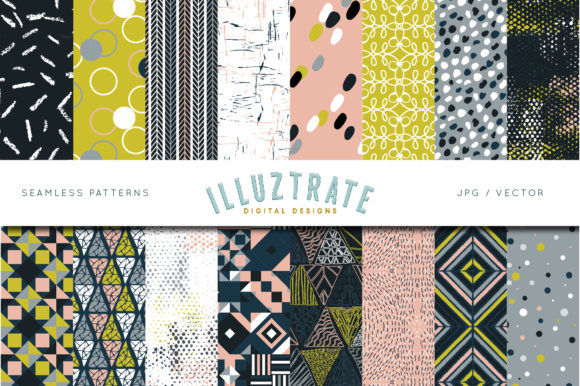 Print on Demand: Retro Geometric Pattern Designs Graphic Patterns By illuztrate