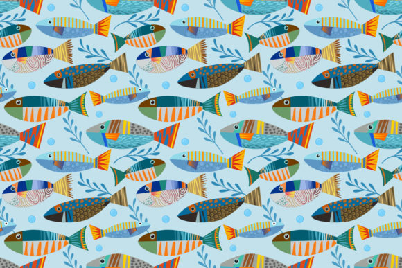 Colorful Tropical Fish Seamless Pattern. Graphic Patterns By ranger262