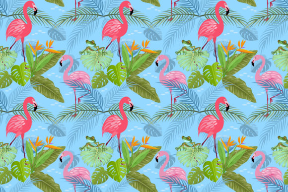 Flamingo and Tropical Leaf Pattern. Graphic Patterns By ranger262