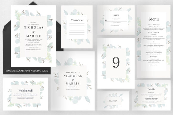 Modern Floral Wedding Suite Graphic Print Templates By Azka Creative