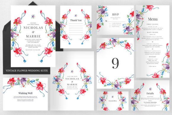 Vintage Flower Wedding Suite Graphic Print Templates By Azka Creative