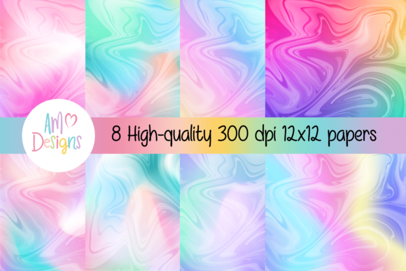 Print on Demand: Beautiful Marbled Gradient Backgrounds Graphic Crafts By AM Digital Designs