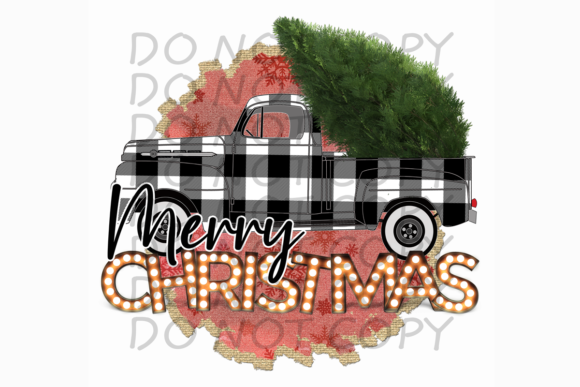 Merry Christmas Truck with Tree Plaid Graphic Print Templates By rebecca19