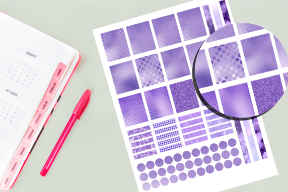Print on Demand: Purple Foil Printable Stickers Graphic Crafts By AM Digital Designs