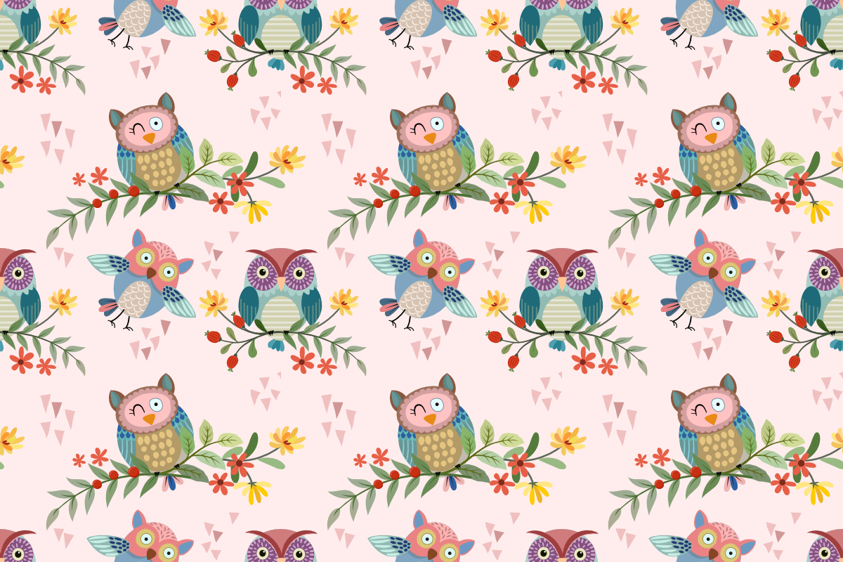 Download Free Cute Owl On Branch With Flowers Pattern Graphic By Ranger262 SVG Cut Files