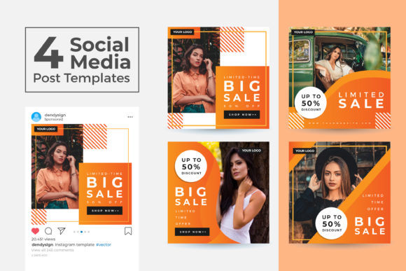 Print on Demand: Social Media Post Template Vol 38 Graphic Graphic Templates By dendysign