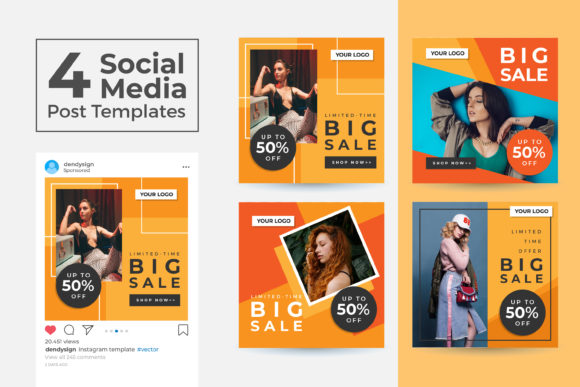 Print on Demand: Social Media Post Template Vol 41 Graphic Graphic Templates By dendysign