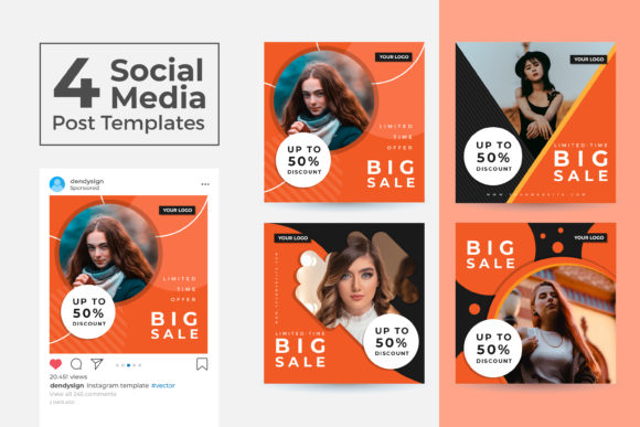 Print on Demand: Social Media Post Template Vol 39 Graphic Graphic Templates By dendysign