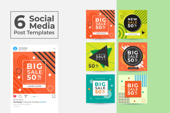 Print on Demand: Social Media Post Template Vol 42 Graphic Graphic Templates By dendysign