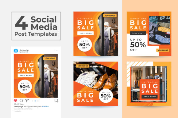 Print on Demand: Social Media Post Template 44 Graphic Graphic Templates By dendysign