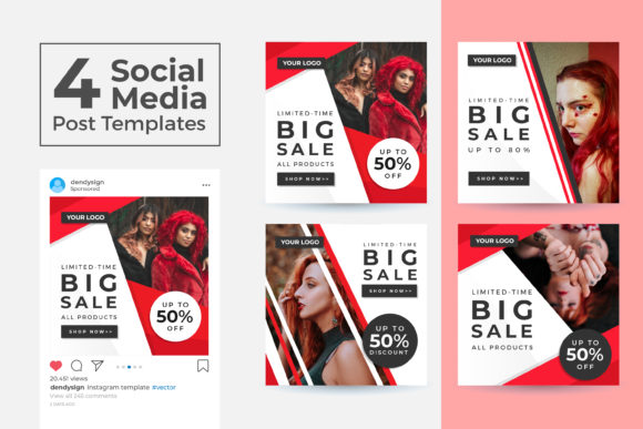 Print on Demand: Social Media Post Template Vol 47 Graphic Graphic Templates By dendysign