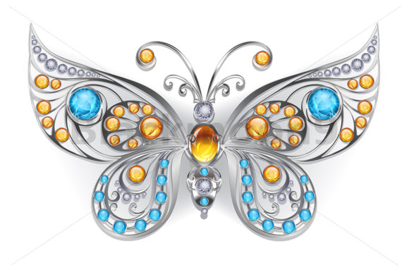 Silver Butterfly with Amber Graphic Illustrations By Blackmoon9